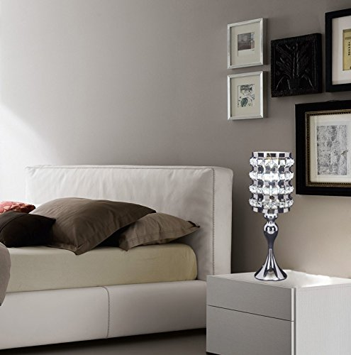SwanHouse Crystal Chandelier Silver Modern Classic Table Lamp BSH-KOQ-W7xH19 by SwanHouse (Image #3)