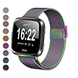 MEFEO Compatible with Fitbit Versa Bands, Stainless Steel Metal Band Mesh Bracelet with Strong Magnet Lock Wristbands Replacement for Fitbit Versa/Versa 2/Versa Lite/SE (Colorful, Large)