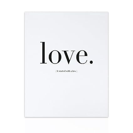 Declea Quadro Moderno Frase Scritta Love Stile Bianco E Nero