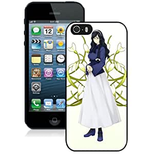 Popular And Unique Designed Cover Case For iPhone 5S With Girl Brunette Braid Glasses Ornaments Background black Phone Case