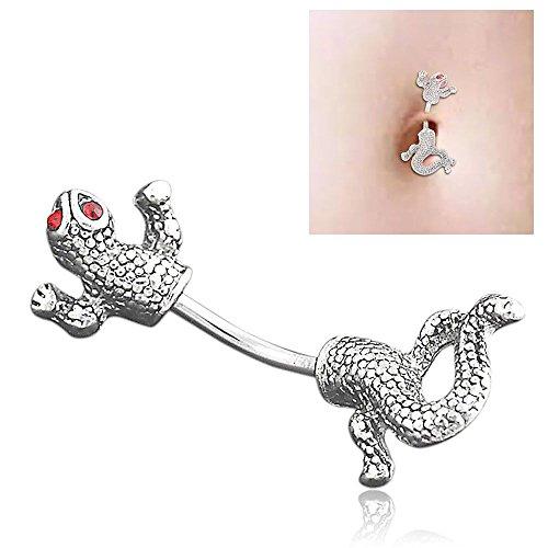 HuntGold Red Eyed Lizard Chameleon Navel Belly Bar Ring Body Piercing Stainless Steel (Chameleon Belly Ring)