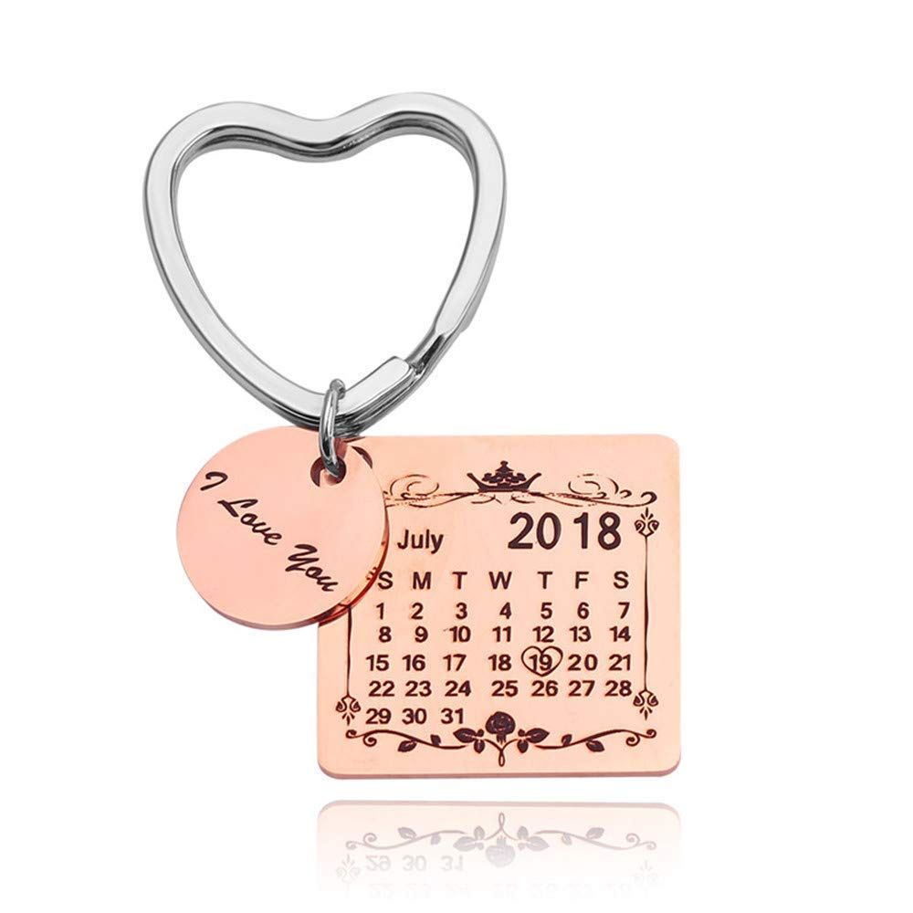 パーソナライズされたカスタム彫刻カレンダー 日付刻印 メッセージ ステンレススチール キーリング&キーチェーン 記念品 記念日 結婚式 ギフト keychain-birthday-002  Heart Ring Rose Gold B07KGCS4X3