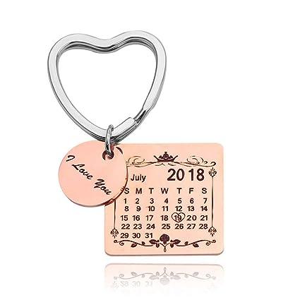 Grabado Fecha Personalizada Calendario Llavero Fecha Personalizada Colgante Llavero para Amantes Parejas (Anillo corazón Oro Rosa)