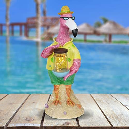 Exhart Beach Lover Pink Flamingo Garden Statue