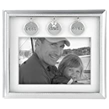 Malden International Designs Charming Metals Silver Metal Best Dad Ever with Charms Matted Picture Frame, 4-Inch by 6-Inch