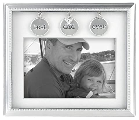 Malden International Designs Charming Metals Dad Metal Charms Picture Frame, 4x6, Silver - Rectangle Picture Frame Charms