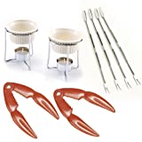 Norpro Crab and Lobster Serving Set for Two Including Two (2) Red Stainless Steel Crab/ Lobster/ Shellfish Crackers, 2 Ceramic Butter Warmers, and 4 Stainless Steel Seafood Forks/picks