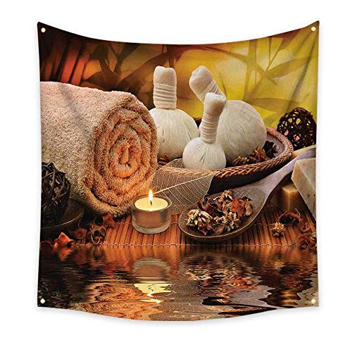 Spa Decor Tapestry Outdoor Spa Massage Setting at Sunset with Candlelight Reflections Culture Cool Tapestry 32W x 32L Inch