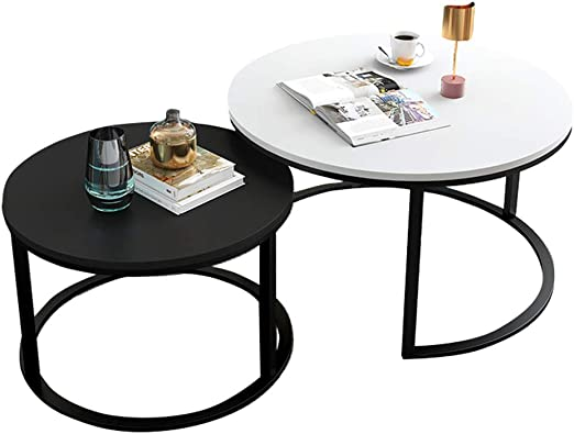 Set Of 2 Round Nesting Coffee Table Sofa Side End Table Living