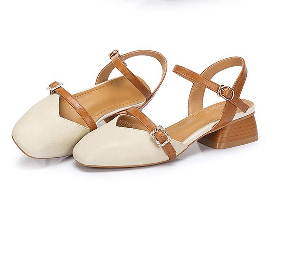 YNXZ-SHOE Sandalias De Las Mujeres, Suela De Goma Ocasional Acentuada De La Manera Creativa, Zapatos Solos Respirables Antideslizantes, 3 Colores 35-40 Yardas (Color : Blanco, Tamaño : 37) 37|Blanco