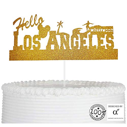 Los Angeles Cake Topper for Welcome Travel Celebration Birthday Party Cake Decoration, Photo Booth Prop for LA with Premium Gold Glitter and Acrylic Stick]()