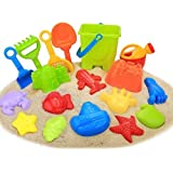 Beach Sand Toys, Newisland 18 Piece Kids Beach Toys Set with Models and Molds, Bucket, Shovels, Rakes, Watering Can Kits & Reusable Zippered Bag
