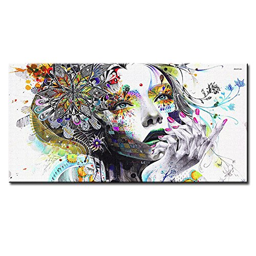 Modern Canvas Prints Colorful Mosaic Painting Anime Women Art Girl Face with Flowers Wall Art Pictures for Living Room No Frame,60120cm