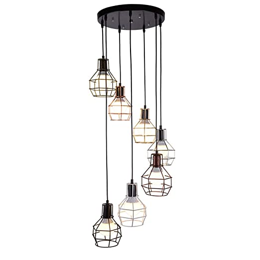 HONGOU LIGHT Lámpara Colgante Vintage Industrial Negro E27 7 Luces ...