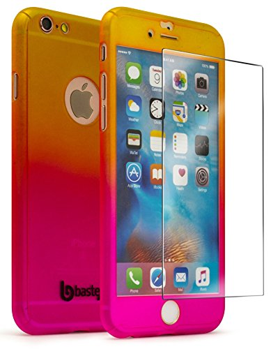 iPhone 6 / 6s 4.7 Case with Tempered Glass Screen Protector, Bastex Full Body Slim Fit Fade Gold to Pink Ultra Thin Light Weight Hard Snap-On Case for Apple iPhone 6 4.7, iPhone 6s 4.7