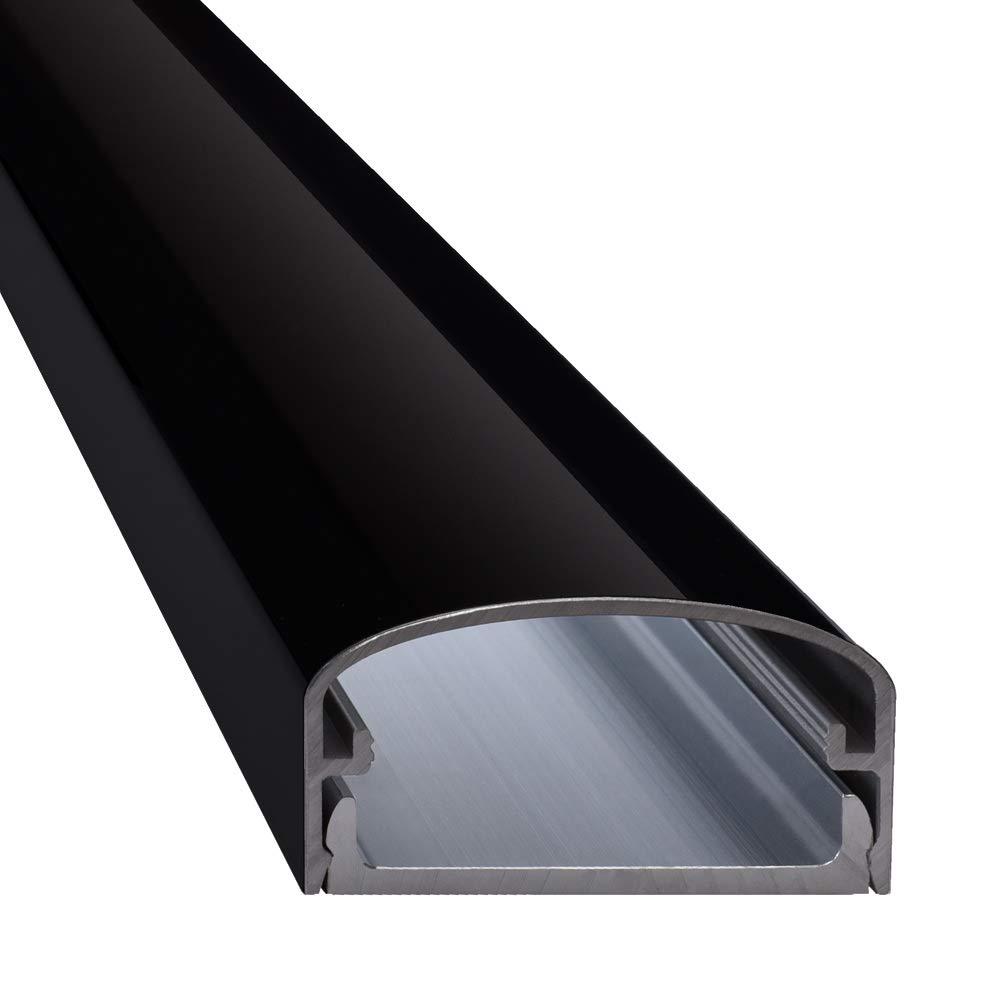 Design Alu Kabelkanal 'BIG MOUTH' fü r TV, Beamer etc. - schwarz glä nzend (Klavierlackoptik) - Lä nge 250cm - Platz fü r viele Kabel - 250 x 5 x 2,6cm - komplett aus Aluminium ac-metall