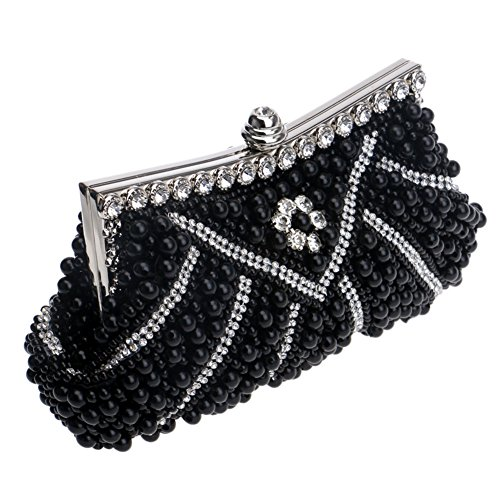 Party Wedding Clutch Women's Handbag Rhinestone Purse Black Handmade MGH Evening wfUqXgv