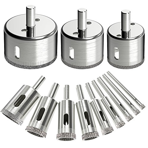 12Pcs Diamond Drill Bits Dr.meter Glass and Tile Hollow Core Drill Bits Extractor Remover Tools Hole Saws for glass, ceramics, porcelain, ceramic tile (Ceramic Tile Porcelain Tile)