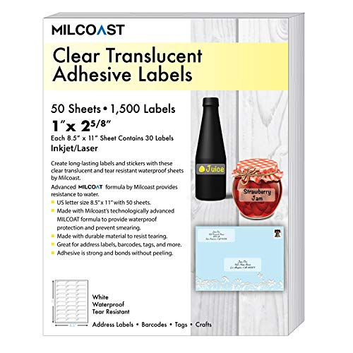 (Milcoast Glossy Clear Translucent Waterproof Tear Resistant Address Labels 1