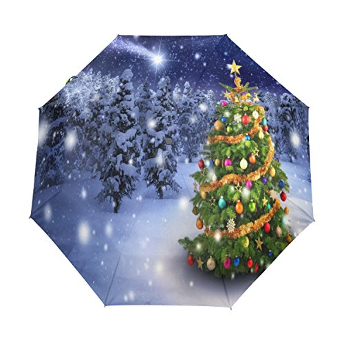 alaza merry christmas tree glitter 3 folds auto open close anti uv umbrella