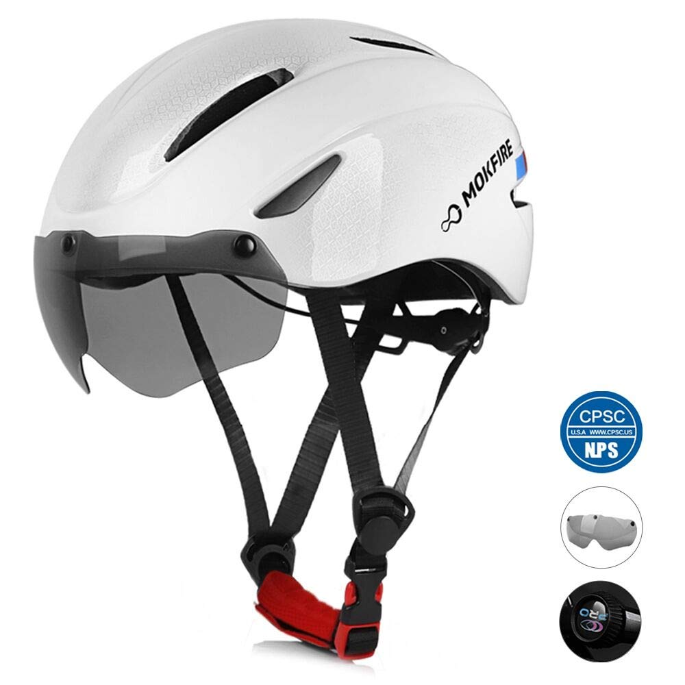 MOKFIRE Adult Bike Helmet, Bicycle Helmet with Removable Magnetic Goggles Visor, CPSC CE.EN1078 Certification Adjustable Mountain Road Cycling Helmet for Adult Men Women Size 22-24 Inches