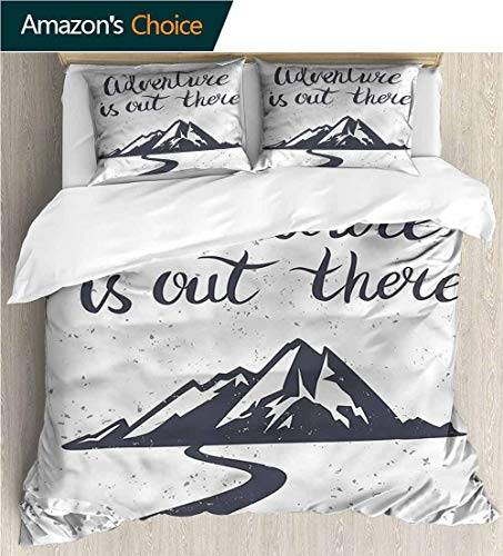 Bedspread Set Queen Size,Box Stitched,Soft,Breathable,Hypoallergenic,Fade Resistant Print,Decorative Quilted 2 Piece Coverlet Set With 2 Pillow Shams-Landscape Mountain And Road (68