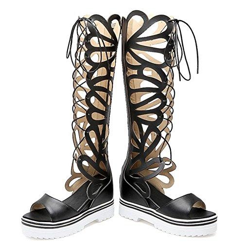 TAOFFEN Mujer Gladiador Peep Toe Bottilons Sandalias Clasico Tacon De Cuna Tacon Alto Cordones Zapatos Negro