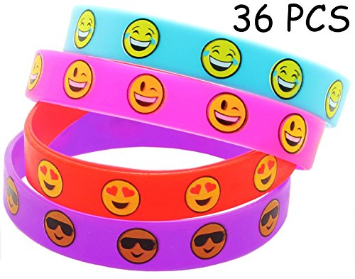 36 PCS Cute Emoji Smiley Face Emoticon Rubber Wristbands Bracelets Birthday Party Favors