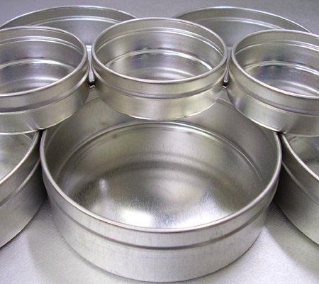 Enkaustikos Beaded Safety Edge 8 oz Empty Metal Cup 3-3/4'' diameter 1-1/4'' deep Pack of 12