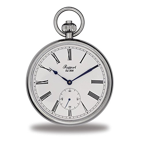 Vintage Pocket Watch with Chain by Rapport - Classic Oxford Open Face Pocket Watch with Sub-Seconds - Silver from Rapport