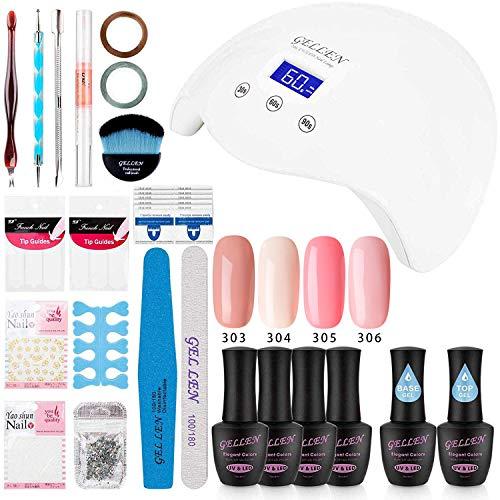 - Gellen Gel Polish Starter Kit with 24W LED Lamp Base Coat Top Coat, Pink Peach Colors - Manicure Pedicure Tools Various Popular Nail Art Designs
