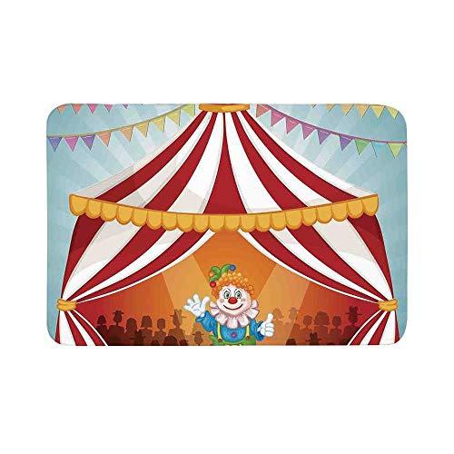 C COABALLA Circus Decor Durable Door Mat,Cartoon Clown in Circus Tent Cheerful Costume Funny Entertainer Joyful for Living Room,19.6