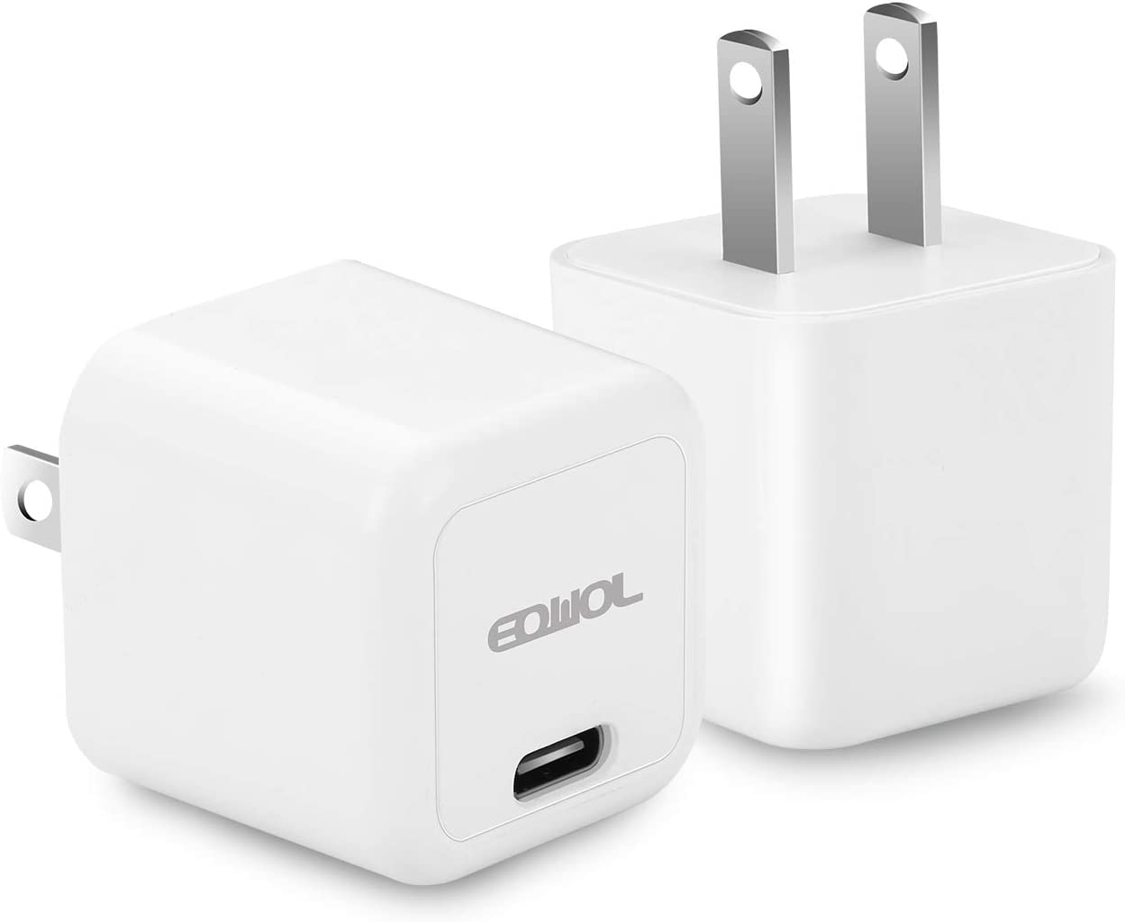 USB C Charger, EQWOL Byte 2-Pack 20W Mini USB-C Wall Charger, Fast Charger Compatible with iPhone 12 Pro max / 12 Pro / 12/12 Mini / 11, Galaxy, Pixel 4/3, iPad Pro (2-White)