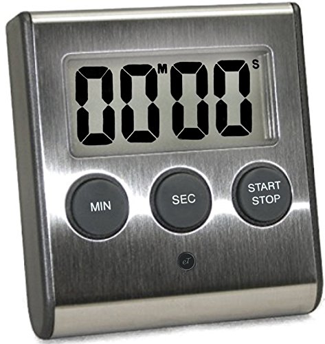 Magnetic Timer (Elegant Digital Kitchen Timer, Stainless Steel Model eT-23, SUPER Strong Magnetic Back, Loud Alarm, Large Display, Auto Memory, Auto Shut-Off)