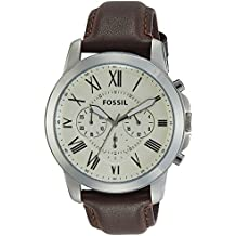 Fossil Men's Grant Quartz Stainless Steel and Leather Chronograph Watch, Color: Silver-Tone, Brown (Model: FS4735)