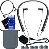 Sony h.ear in Wireless Bluetooth In-Ear Headphones,Black (MDREX750BT/B) + Headphone Cable, USB Cable w/Charger Wall Adapter + 4 Sizes Earbuds + Carrying Pouch + HeroFiber Ultra Gentle Cleaning Cloth