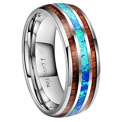 Tungsten Carbide Wedding Ring Engagement Band for Men Women Koa Wood Opal Matte Brushed Comfort Fit 8mm