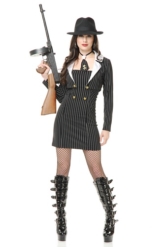 Charades Women's Miss Mob Boss Pin Strip Dress, Black/White, (Daring Fancy Dress Costumes)