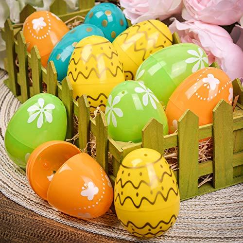 Valery Madelyn 36ct 2.36 inch Joyful Easter Eggs Fillers Hunt, Plastic Easter Basket Stuffers Assorted Color for Girls Kids Spring Easter - Easter Fancy Eggs