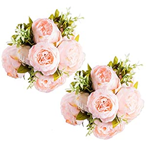Foraineam Peony Artificial Flowers Home Centerpiece Decor Silk Fake Peonies Wedding Bouquets, Pack of 2 (Spring Pure Pink) 8
