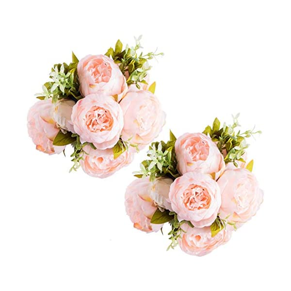 Foraineam Peony Artificial Flowers Home Centerpiece Decor Silk Fake Peonies Wedding Bouquets, Pack of 2 (Spring Pure Pink)