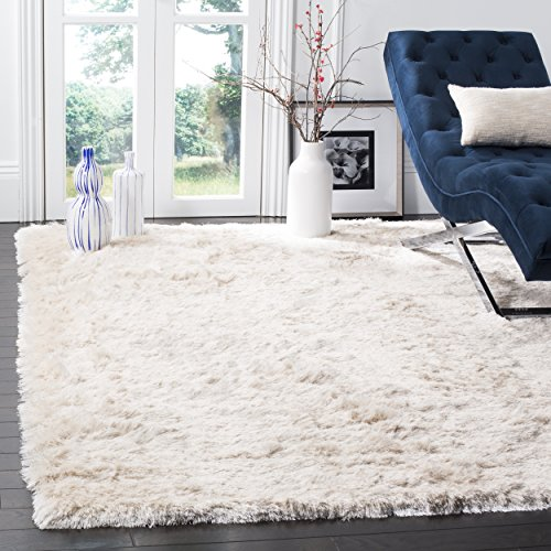 Safavieh Paris Shag Collection SG511-1212 Ivory Polyester Square Area Rug (5' Square) ()