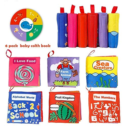 GoaPly Cloth Books for Babies ,Ccolorful,Crinkle Early Childhood Educational Toy Designed According to The Size of The Child's Palm.It is The Best Gift for Children's Shower First Birthday.Pack of 6