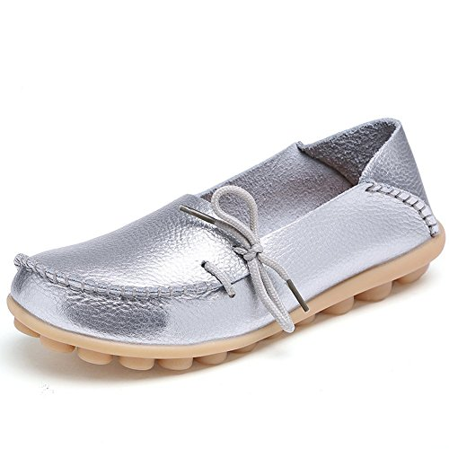 Flat American Womens Up Shoes Trends Pumps Silvery Slip On Lace Leather Slipper Loafers 8U8rTwqp