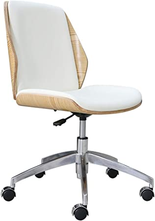 Chaise De Bureau Ordinateur Télésiège Chaise Pivotante Accueil Chaise De Bureau, en Bois Massif + Cuir, No Accoudoirs Fauteuils de Salon HUXIUPING