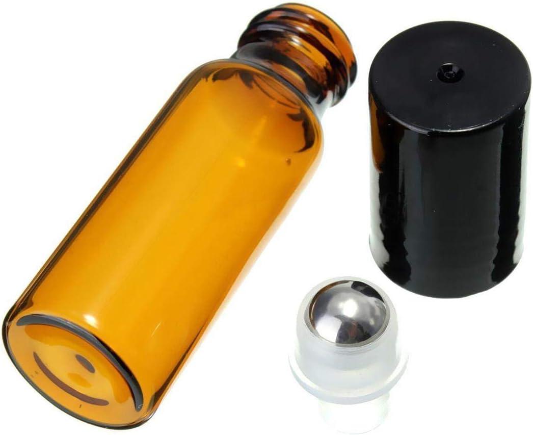 10 frascos cilíndricos de Metal Piezas de 10 ml de Cristal Bola de Acero para el Perfume del Aceite Esencial