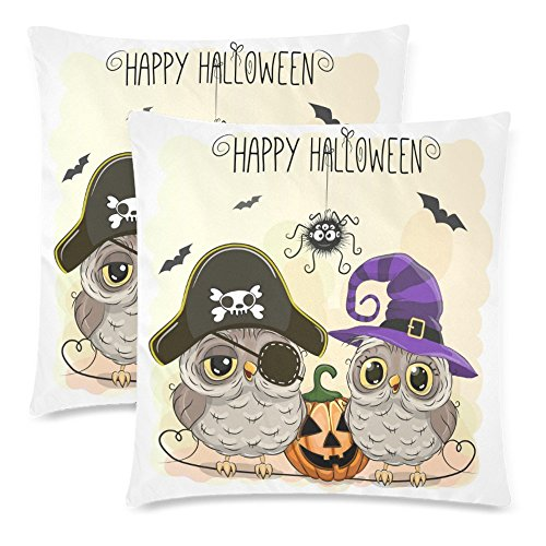 InterestPrint 2 Pack Halloween Card with Owl and Pumpkin Cushion Pillow Case Cover 18x18 Twin Sides, Happy Halloween Zippered Cotton Throw Pillowcase Set Decorative for Couch Bed (Happy Halloween Happy Halloween)