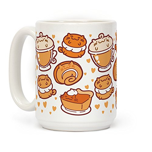 LookHUMAN Purrmpkin Spice Cat Mug White 15 Ounce Ceramic Coffee Mug]()