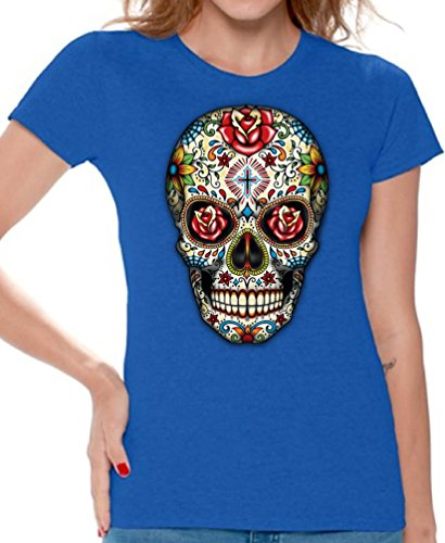 Skull Tee Womens Premium T-shirt - Awkward Styles Awkwardstyles Women's Rose Eyes Skull T-Shirt Sugar Skull Dead Shirt + Bookmark L Blue