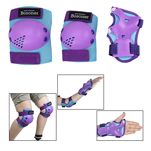Bosoner Kids/Youth Knee Pad Elbow Pads for Rollerblade Roller Skates Cycling BMX Bike Skateboard Inline Rollerblading, Skating Skatings Scooter Riding Sports (Blue/Purple, Medium(6-15 Years))